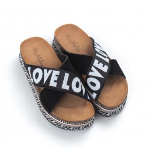 Черни дамски чехли на платформа LOVE  2