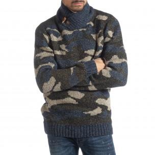 Мъжки пуловер с голяма яка син камуфлаж
