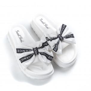 Дамски чехли бяла панделка с надписи 2