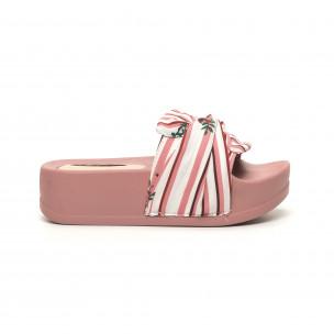 Розови дамски чехли на гумена платформа