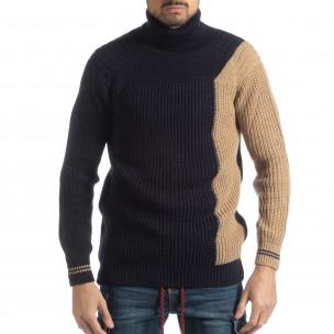 Мъжки пуловер в синьо и бежово