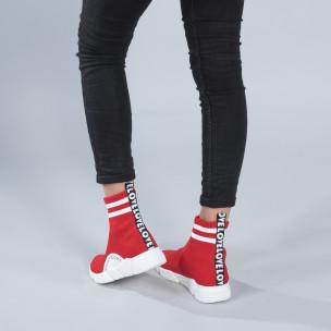 Червени дамски маратонки тип чорап с акценти