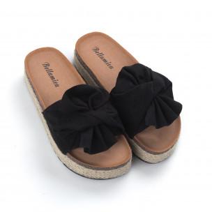 Черни дамски чехли с конопен кант 2