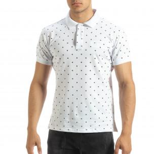 Мъжки бял polo shirt Clover мотив