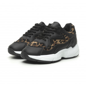 Дамски маратонки черно и леопард на висока подметка 2