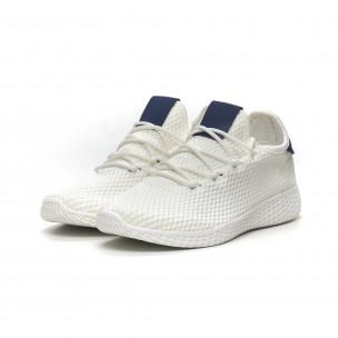 Мъжки бели леки маратонки синя пета 2