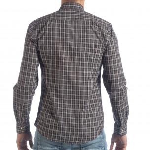 Мъжка карирана риза Slim fit Casual  2
