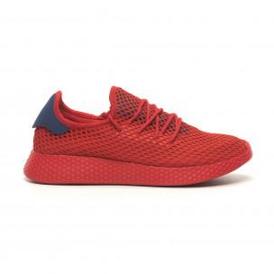Червени мъжки маратонки Mesh синя пета
