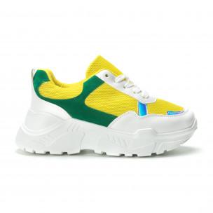 Жълто-зелени дамски маратонки с обемна подметка