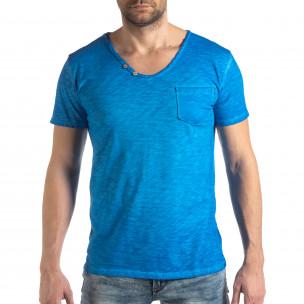 Мъжка тениска Vintage стил в ярко синьо