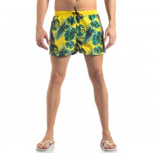 Жълт мъжки флорален бански с кантове  2