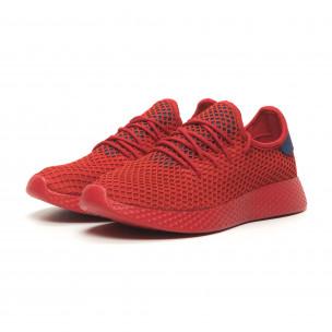 Червени мъжки маратонки Mesh синя пета 2