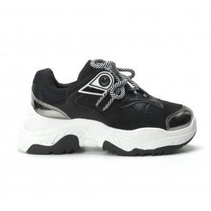 Хитови дамски маратонки в черно и бяло  2