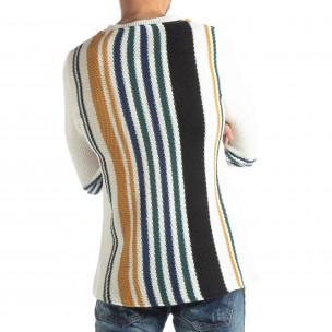 Мъжки колоритен раиран пуловер с бяло 2