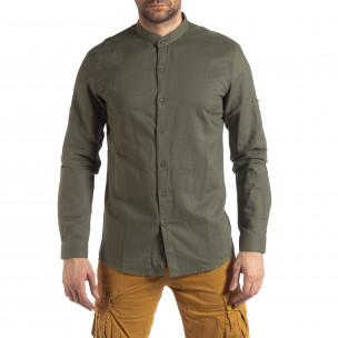 Мъжка риза от лен и памук в зелено  2