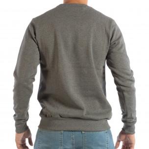 Сива мъжка ватирана блуза с флок щампа  2