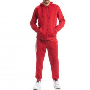 Червен мъжки спортен комплект с бели ленти