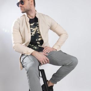 Мъжка риза от лен и памук в бежово