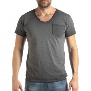 Мъжка тениска Vintage стил в сиво