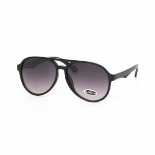 Опушени пилотски очила масивна черна рамка