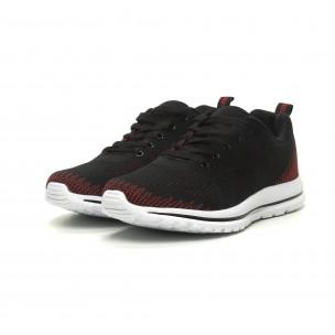 Плетени меки мъжки маратонки в черно-червено  2