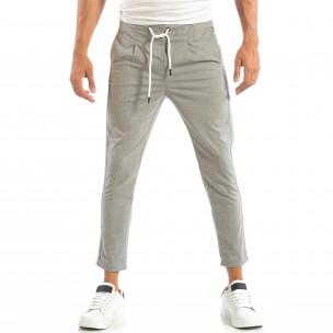 Лек мъжки панталон на райе в светло сиво 2