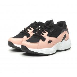 Дамски маратонки черно и розово с дебела подметка  2