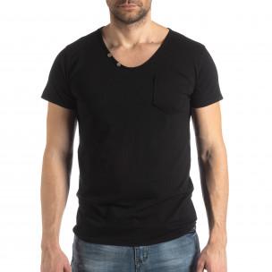 Мъжка тениска Vintage стил в черно