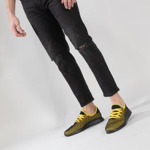Ултралеки мъжки маратонки Mesh в черно и жълто  2