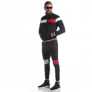 Мъжки черен спортен комплект с права яка
