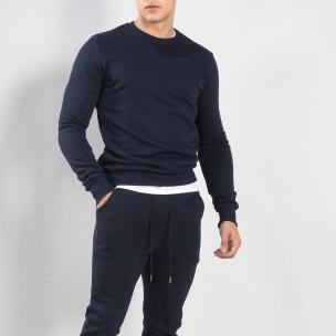 Basic мъжка памучна блуза в тъмно синьо