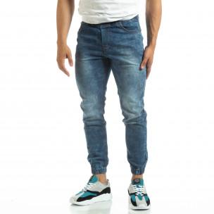 Мъжки тънки дънки тип Jogger в синьо  2