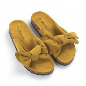 Жълти дамски чехли с панделка 2