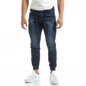 Мъжки сини тънки дънки с трикотажни маншети
