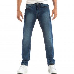Сини мъжки Regular fit дънки с изпран ефект