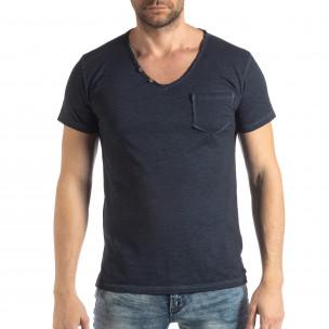 Мъжка тениска Vintage стил в тъмно синьо