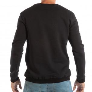 Мъжка черна ватирана блуза с бродерия  2