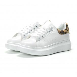Дамски бели кецове с леопардова пета  2