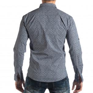Slim fit мъжка риза с флорален десен в синьо  2