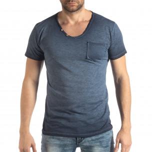 Мъжка тениска Vintage стил в синьо