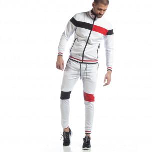 Мъжки бял спортен комплект с права яка