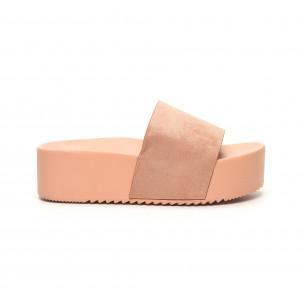 Розови дамски чехли на платформа