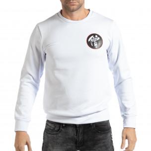 Бяла мъжка блуза с източен мотив