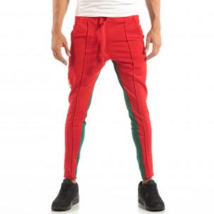 Мъжки Jogger в червено и зелено с кантове и ципове 2