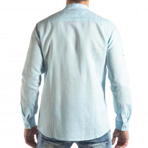 Мъжка риза от лен и памук в светло синьо  2
