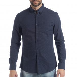 Slim fit мъжка синя риза на точици