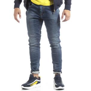 Мъжки сини дънки с намачкан ефект  2
