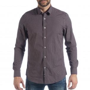 Мъжка памучна риза Slim fit синьо каре  2