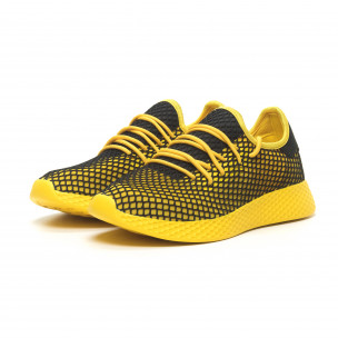 Жълти мъжки маратонки Mesh черна пета  2