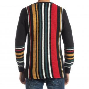 Мъжки колоритен раиран пуловер с черно  2